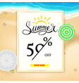 summer super sale banner fifty percent discount vector image vector image