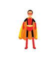 superhero man in orange cape vector image vector image