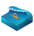 surfer on blue ocean wave in tube getting vector image