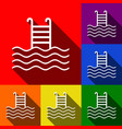 swimming pool sign set of icons with flat vector image vector image
