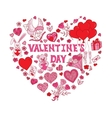 Valentines Day Doodles in heart shape vector image vector image