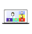 video conference on laptop screen beautiful vector image