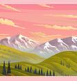 white mountain and rocks orange skies green vector image