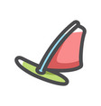 windsurfing sailing board icon cartoon vector image vector image