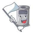 with flag cartoon steel trash can in the office vector image