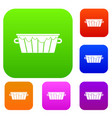 wooden tub set color collection vector image vector image