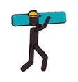 worker contruction carries material graphic vector image