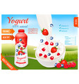 yogurt with berries in bottle fruits and milk vector image vector image