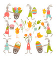 vintage elements set of easter theme vector image