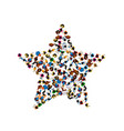 a group of people in a shape of a star vector image vector image