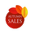 autumn sales - brown round emblem vector image vector image
