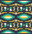 aztec tribal black turquoise and yellow pattern vector image