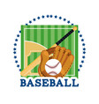 baseball field game with professional equipment vector image vector image