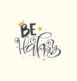 be happy lettering with stars confetti vector image vector image