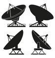 black and white satellite antena silhouette set vector image vector image