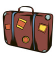 Brown travel suitcase icon cartoon