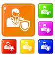 businessman protection icons set color vector image vector image