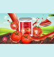 canned tomatoes realistic mock up product vector image vector image