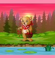 cartoon bear with a basket red heart on riversi vector image vector image