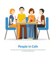 cartoon young people in cafe concept card poster vector image vector image
