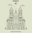 cathedral of saint mary major in marseille vector image vector image