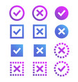 check mark icon blue and purple marks and crosses vector image