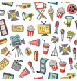 cinema doodle icons background or pattern vector image vector image