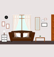 classic living room with brown sofa interior vector image vector image