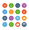 colorful simple social media icon set vector image vector image