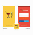 company drinks splash screen and login page vector image