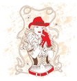 cowgirl in a red hat and red gloves vector image