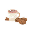 cup of hot chocolate with marshmallow cookies and vector image vector image
