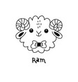 cute simple ram face cartoon style vector image vector image
