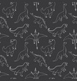 dino seamless pattern cute cartoon hand drawn vector image vector image