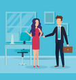elegant business couple in the workplace vector image