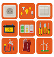 energy electricity power icons battery vector image vector image