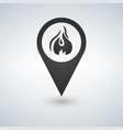 flame point - map pointer with fireplace sign vector image