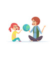 geography lesson girl teacher and globe woman vector image vector image