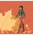 Girl and autumn leaves vector image vector image