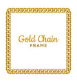 golden chain square border frame rectangle wreath vector image