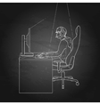 Guy playing the computer vector image