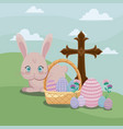 happy easter day card with cute rabbit and cross vector image vector image