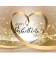 happy valentines day hand drawing golden lettering vector image vector image