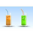 insulated glasses orange and lime juice vector image