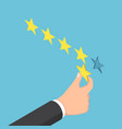 isometric businessman hand giving five star rating vector image