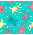 Kids seamless pattern with cute bears and hares vector image