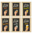 male hand holding a glasses with beer tequila vector image