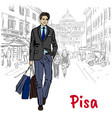 man in pisa vector image