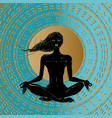 meditation silhouette young woman vector image