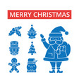 merry christmas thin line icons vector image